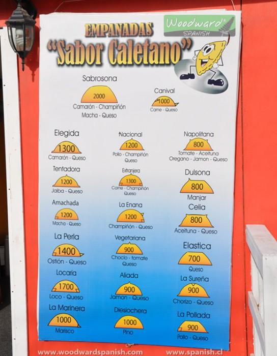 A list of Empanadas and their different names and flavors in Spanish.