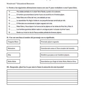 Easter Island Spanish Worksheet Sample - Hombre Pajaro