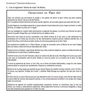 Easter Island Spanish Reading Sample - Vacaciones