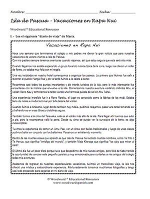 Easter Island Spanish Reading Sample - Vacaciones