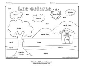 Dibujo para colorear con los colores en español. A drawing to color in with the colors in Spanish.