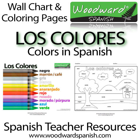 Los Colores - Wall Chart and Coloring Pages about the Colors in Spanish.