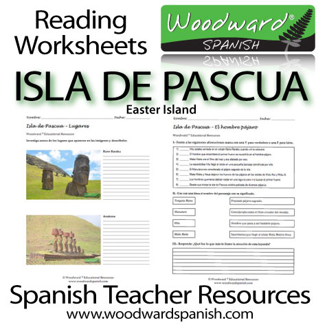 Spanish Reading Worksheets about Easter Island - Isla de Pascua