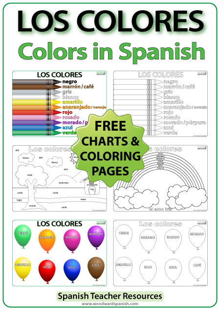 Colors in Spanish - Free coloring Pages and charts. Los Colores en español - páginas para colorear.