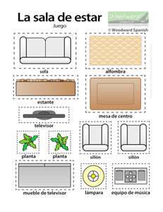 Sala de estar - muebles para cortar - Living Room Furniture in Spanish