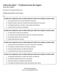Sala de estar Tarjetas de Alumno - Living Room in Spanish Student Cards
