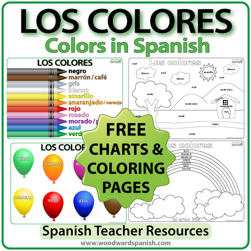 Free coloring Pages and charts about the colors in Spanish. Páginas para colorear.