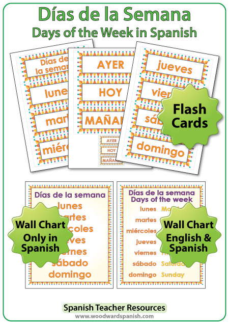Spanish Days of the Week Flash Cards and Wall charts