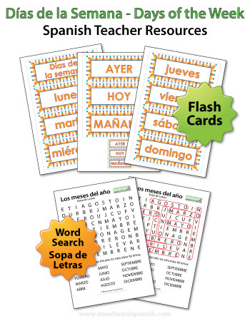 Spanish Days of the Week Flash Cards and Word Search