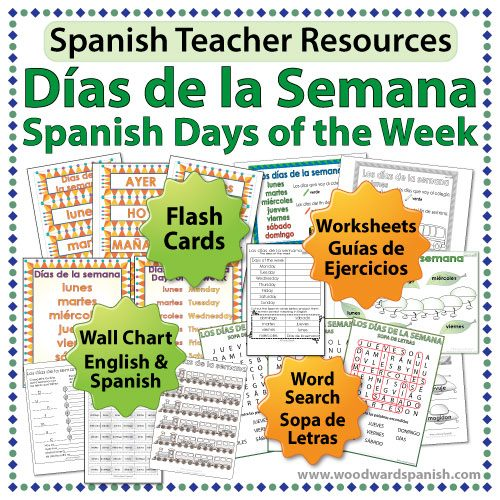 Spanish Teacher Resources for Days of the Week in Spanish