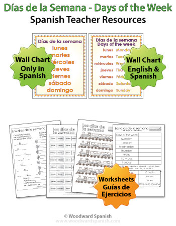 Spanish Days of the Week Wall Charts and Worksheets