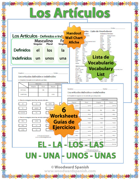 Articles in Spanish Worksheets – Definite and Indefinite Articles