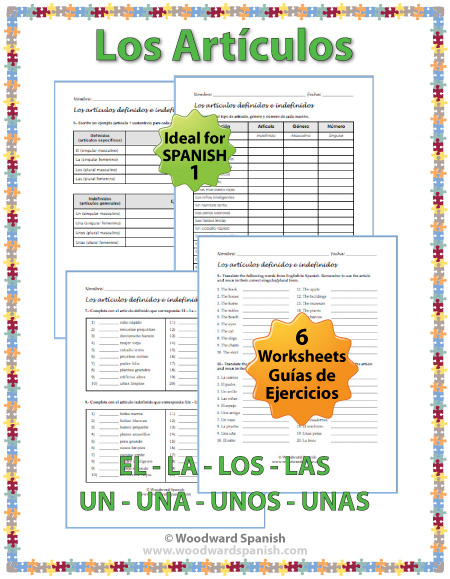 Spanish Articles Worksheets – Definite and Indefinite | Woodward ...