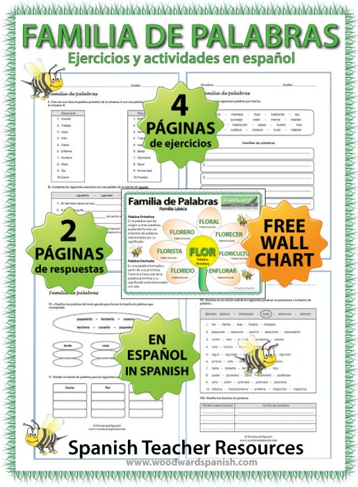 Word Families in Spanish Worksheets and wall chart - Ejercicios de Familia de palabras en español