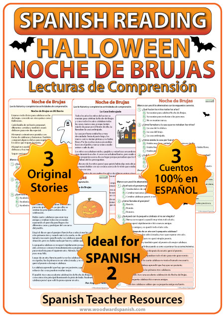 Spanish Reading Passages about Halloween with worksheets - Lecturas de comprensión en español de la Noche de Brujas