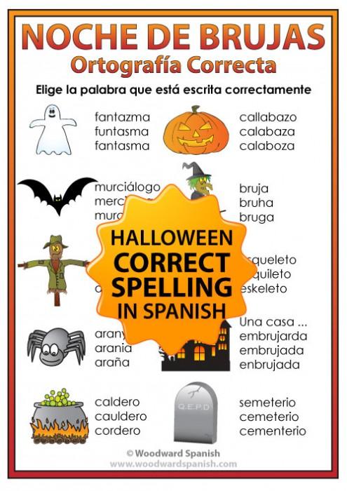 Halloween Spanish Vocabulary Spelling Handout