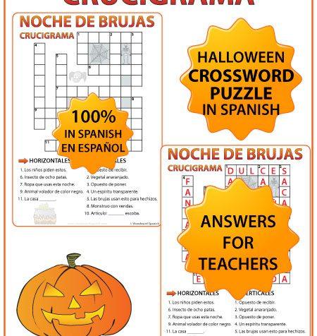 Spanish Halloween Crossword - Crucigrama en español de la Noche de Brujas