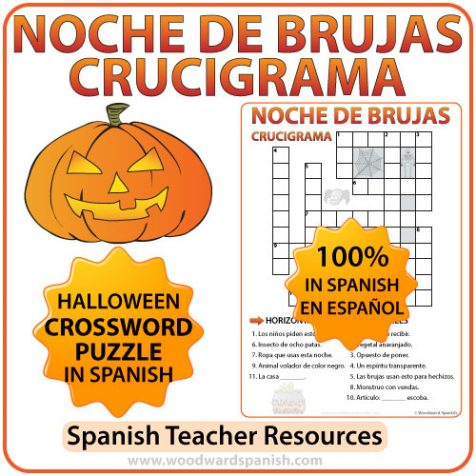 Halloween Crossword in Spanish - Crucigrama en español de la Noche de Brujas