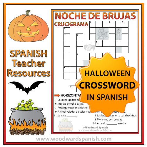 Halloween Crossword in Spanish - Crucigrama en español de la Noche de Brujas
