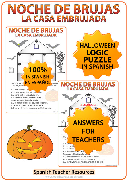 A Logic Puzzle in Spanish about a Haunted House. La Casa Embrujada - Actividad de lógica en español