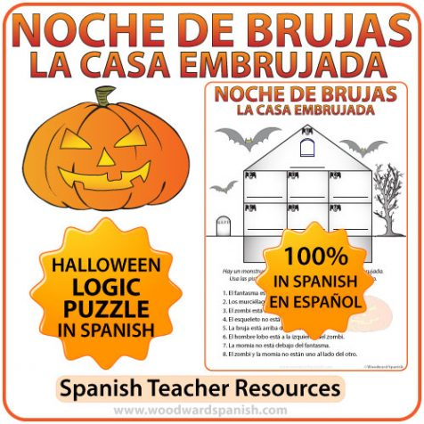 Halloween Logic Puzzle in Spanish using Prepositions of Place and a Haunted House.