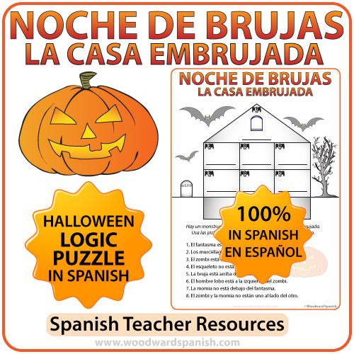 halloween logic puzzle in spanish woodward spanish. Black Bedroom Furniture Sets. Home Design Ideas