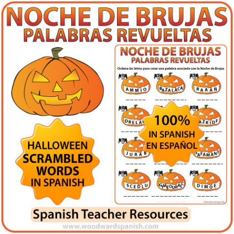 Halloween Scrambled Words in Spanish Worksheet. Noche de Brujas - Palabras Revueltas.