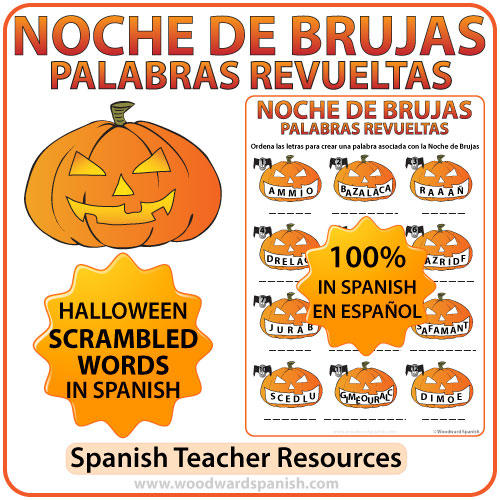 Halloween Scrambled Words in Spanish Worksheet. Noche de Brujas - Palabras Revueltas.