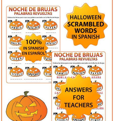 Scrambled Halloween Words in Spanish Worksheet. Palabras revueltas con vocabulario acerca de la Noche de Brujas.