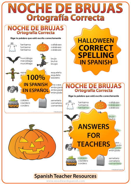 Halloween Spanish Vocabulary - Spelling Activity