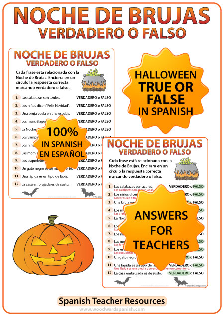 Spanish Halloween True or False Quiz - Noche de Brujas - Verdadero o Falso.