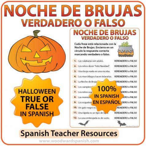 Spanish Halloween True or False Quiz - Noche de Brujas - Verdadero o Falso.