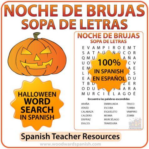 Spanish Halloween Vocabulary Word Search - Sopa de Letras de la Noche de Brujas en español