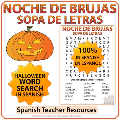 Spanish Halloween Vocabulary Word Search - Sopa de Letras de la Noche de Brujas en español