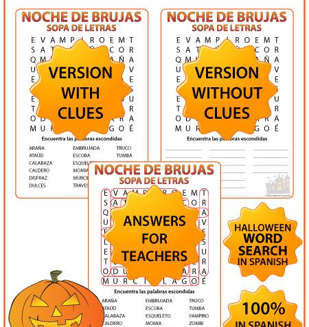 Word Search with Vocabulary about Halloween in Spanish. Sopa de Letras con vocabulario en español acerca de la Noche de Brujas