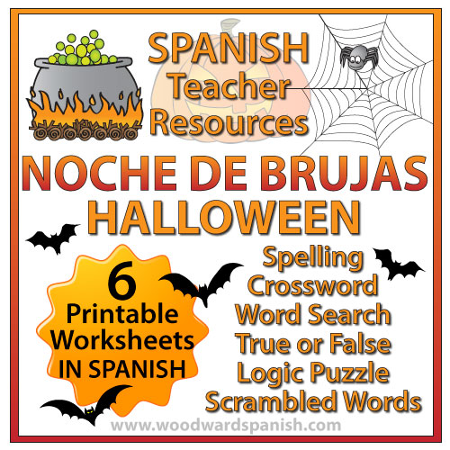 spanish halloween worksheets and activities pack woodward spanish. Black Bedroom Furniture Sets. Home Design Ideas