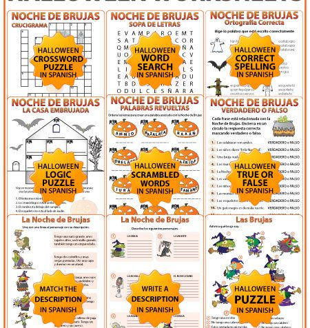 Spanish Halloween Worksheets Bundle - Noche de Brujas