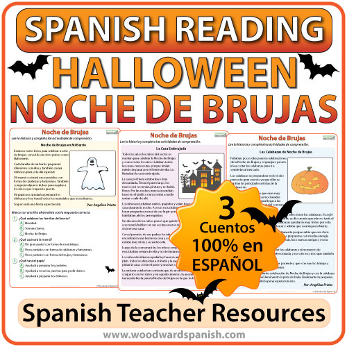 Spanish Halloween Reading Worksheets - Lecturas de comprensión en español de la Noche de Brujas