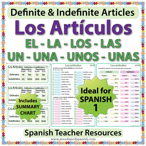 Spanish Articles Worksheets Definite And Indefinite Woodward Spanish