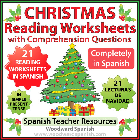 Christmas Reading Comprehension Worksheets in Spanish - Lecturas de Navidad