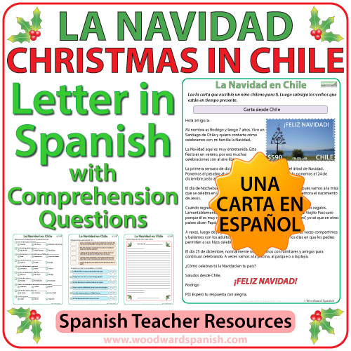 La Navidad en Chile - Christmas in Chile - Spanish Letter with Worksheets