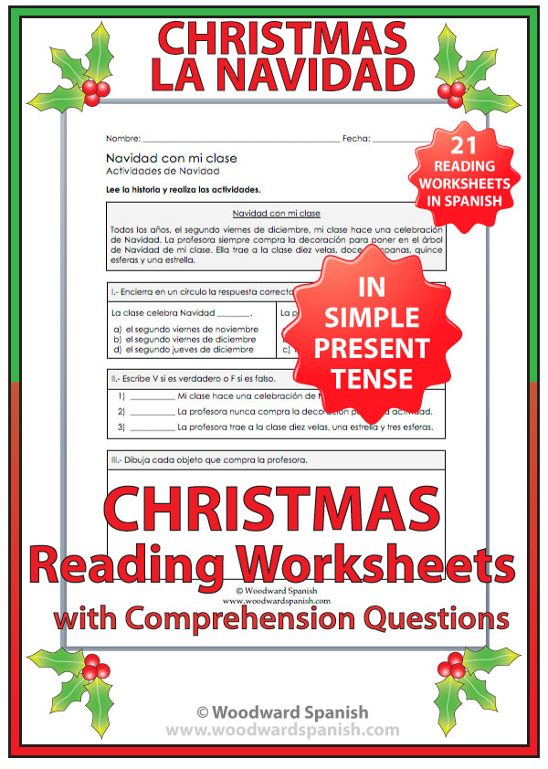 Christmas Reading Comprehension Worksheets in Spanish – Christmas Comprehension Worksheets