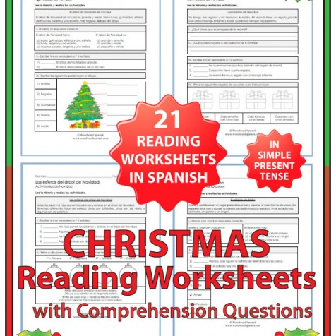 Spanish Reading Comprehension Worksheets about Christmas