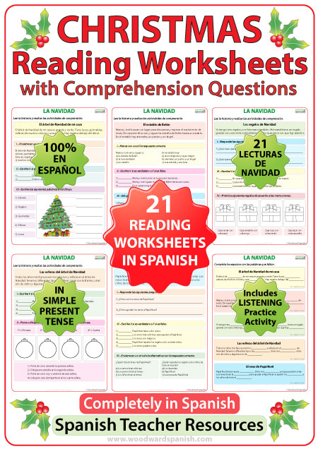 Spanish reading worksheets about Christmas - 21 short stories in Spanish with comprehension questions.