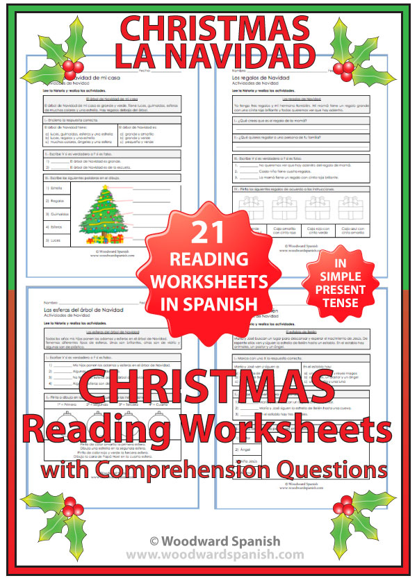 Printable Worksheets spanish reading worksheets : Christmas – Reading Comprehension Worksheets in Spanish | Woodward ...