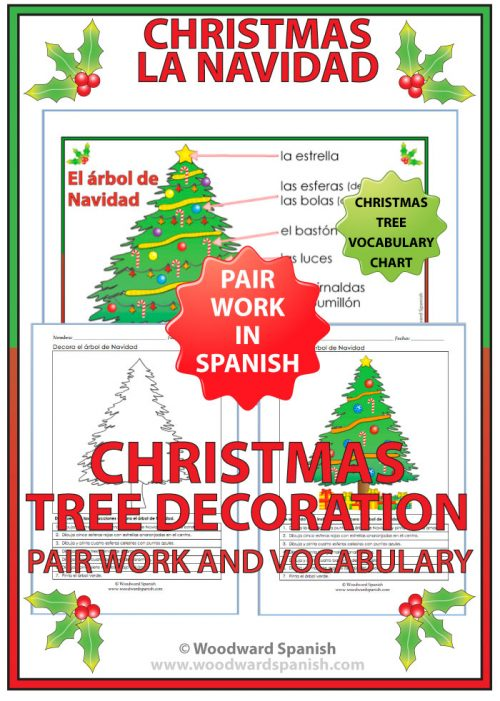 Christmas Tree Decoration Activity with Spanish Vocabulary Chart