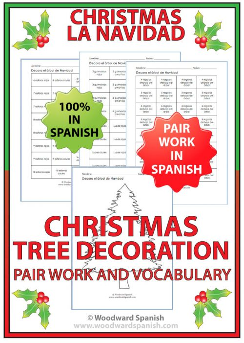 Spanish Christmas Tree Decoration Activity Cards for Pair Work