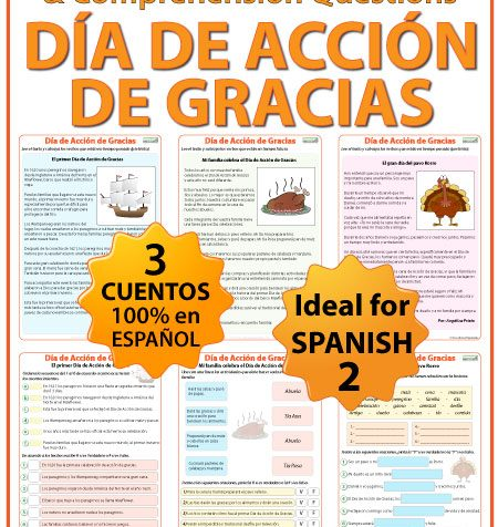 Spanish Thanksgiving Reading and Worksheets - Lecturas del Día de Acción de Gracias
