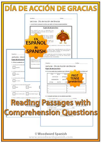 Thanksgiving Spanish Reading Passages - Día de Acción de Gracias