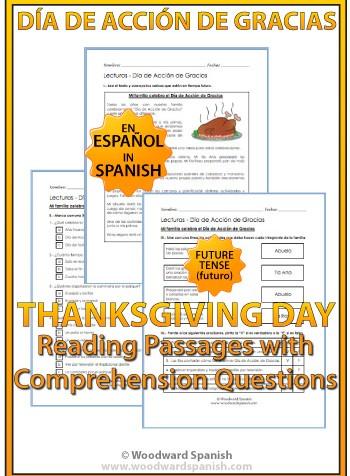 Thanksgiving Spanish Reading texts - Día de Acción de Gracias